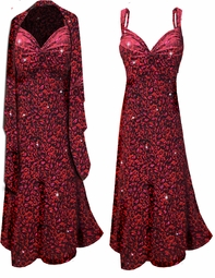 SOLD OUT! Customizable 2-Piece Black Slinky w/ Red & Hot Pink Leopard Glitter - Plus Size & SuperSize Princess Seam Dress Set 0x 1x 2x 3x 4x 5x 6x 7x 8x 9x