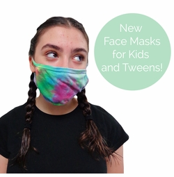 NEW! Kids and Tween Stylish Pretty Reusable Cloth Face Masks in Black, White or Tie Dye & Add Sparkly Rhinestones! Ships Fast From USA!
