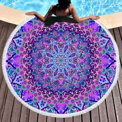 "SALE! Large Pink & Purple Print Round Mandala 60"" Oversize Beach Towel With Tassels!"