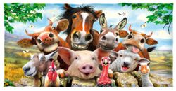 "SOLD OUT! Large Oversize Soft Cotton Velour Animals Print Beach Towel! 29"" x 60"""