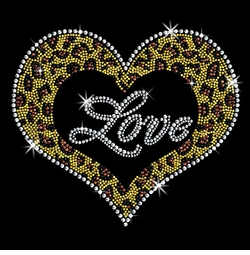 SALE! Leopard Love Heart Sparkly Rhinestud Rhinestones Plus Size & Supersize T-Shirts S M L XL 2x 3x 4x 5x 6x 7x 8x 9x (All Colors)