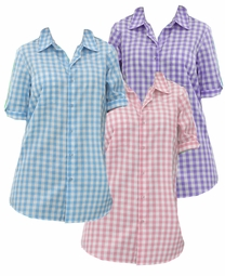 SOLD OUT! CLEARANCE! Pink, Light Purple or Aqua Blue Checkerboard Style French Check Bigshirt Plus Size Short Sleeve Top 4x