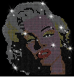 SALE! Marilyn Monroe Blonde Pop Color Portrait Sparkly Rhinestud Rhinestones Plus Size & Supersize T-Shirts S M L XL 2x 3x 4x 5x 6x 7x 8x 9x (All Colors)