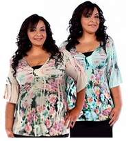SOLD OUT! Plus Size Beige & Pink Tropical Floral Print Short Sleeve Slinky Tunic Tops 4x