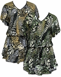 SOLD OUT! Green or Mustard Mixed Animal Print Slinky Plus Size Elastic Waist Tops 4x