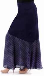 SOLD OUT! Beautiful Navy Solid Slinky & Half Print Overlay Plus Size Maxi Skirt 5x