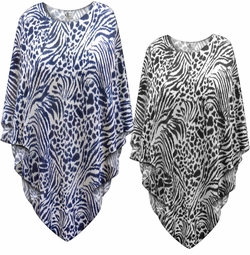 SALE! Navy or Black Animal <strong>KNIT</strong> Print Plus Size Supersize Poncho One Size
