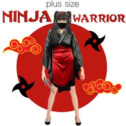 NEW! Plus Size Ninja Warrior Costume 0x 1x 2x 3x 4x 5x 6x 7x 8x 9x