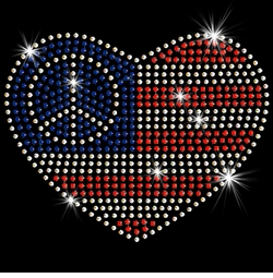 SALE! Small Patriotic American Flag With Peace Sign In Heart Sparkly Rhinestud Rhinestones Plus Size & Supersize T-Shirts S M L XL 2x 3x 4x 5x 6x 7x 8x 9x (All Colors)