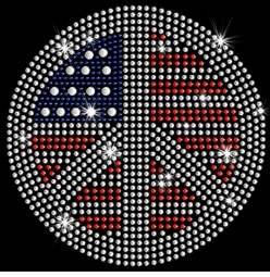 SALE! Patriotic Flag Peace Sign Sparkly Rhinestud Rhinestones Plus Size & Supersize T-Shirts S M L XL 2x 3x 4x 5x 6x 7x 8x 9x (All Colors)