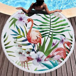 "SALE! Pink Flamingo Garden & Tropical Flowers Print Round 60"" Oversize Beach Towel With Tassels!"