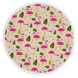 "SALE! Pink Flamingos in the Sand Print Large Round Giant 60"" Oversize Beach Towel With Tassels!"