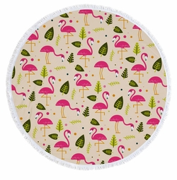 """SALE! Pink Flamingos in the Sand Print Large Round Giant 60"""" Oversize Beach Towel With Tassels!"""