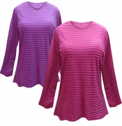 FINAL CLEARANCE SALE! Purple or Pink Striped Long Sleeve Plus Size T-Shirt 4x