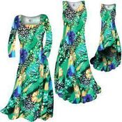 CLEARANCE! Blue & Yellow Floral Speckled Paradise Slinky Print Plus Size & Supersize Short or Long Sleeve Dresses & Tanks 1x