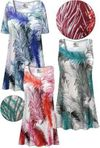 CLEARANCE! Plus Size Feathers SLINKY Print Short or Long Sleeve Shirts - Tunics - Tank Tops 3x