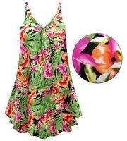 CLEARANCE! Plus Size Tropical Print A-Line Overshirt Top 1X