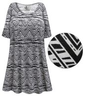 CLEARANCE! Abstract Chevron Print Plus Size & Supersize Extra Long T-Shirts 3x