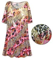 CLEARANCE! Pink Leopard with Gold Metallic Slinky Print Plus Size & Supersize Short or Long Sleeve Shirts 5x
