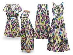 Plus Size Abstract Aztec Print SLINKY Dresses Tops Skirts Pants Palazzo�s & Skirts - Sizes Lg to 9x