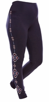 SOLD OUT! Plus Size Aztec Embroidered Cotton Stretch Navy Leggings Size 3x