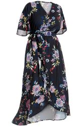 SALE! Plus Size Black Floral Ruffled High Low Wrap Dress Size 2x 3x 4x