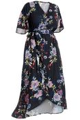 NEW! Plus Size Black Floral Ruffled High Low Wrap Dress Size 2x 3x 4x
