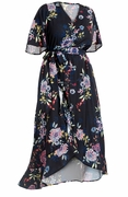 SALE! Plus Size Black Floral Ruffled High Low Wrap Dress Size 3x