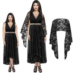NEW! Plus Size Cascading Black Lace Dress Sizes XL 0x 1x 2x 3x 4x 5x 6x 7x 8x 9x