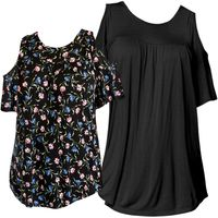NEW! Plus Size Black or Floral Cutout Cold-Shoulder Flare Sleeve Top Size 3x 4x