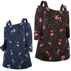 NEW! Plus Size Black or Navy Cold-Shoulder Floral Dot Tee Top Size 3x 4x 5x