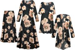 NEW! Plus Size Black & Pink Floral CRUSH VELVET Print Dresses Shirts Jackets Pants Palazzo�s & Skirts - Sizes Lg to 9x