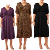 SALE! Plus Size Black, Teal, Purple or Animal Light Weight Midi Faux Wrap Jersey Dress Size 2x 3x 4x