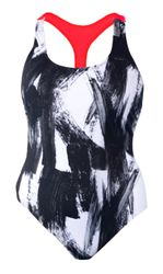 NEW! Plus Size Black & White Brush Print 1 Piece Racerback Swimsuit Size 10