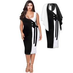 NEW! Plus Size Black & White Color Block Laceup Dress Sizes Lg XL 0x 1x 2x 3x 4x 5x 6x 7x 8x 9x