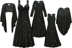 NEW! Plus Size Black with Teal Glitter Waves Print Slinky Dresses Shirts Jackets Pants Palazzo�s & Skirts - Sizes Lg to 9x