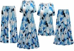 NEW! Plus Size Blue Flower Splash Slinky Dresses Shirts Jackets Pants Palazzo�s & Skirts - Sizes Lg to 9x