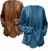 SALE! Plus Size Blue or Brown Faux suede Cascade Front Cardigan Jacket Size 2x 3x 4x