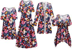 Plus Size Blue Poppies Print Slinky Dresses Shirts Jackets Pants Palazzo�s & Skirts - Sizes Lg to 9x