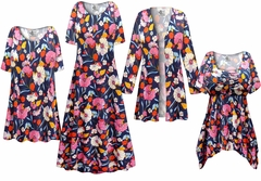SALE! Plus Size Blue Poppies Print Slinky Dresses Shirts Jackets Pants Palazzo�s & Skirts - Sizes Lg to 9x