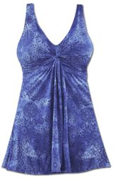 NEW! Plus Size Blue Printed Twist Front 1 Piece Swimdress / Swimsuit  4x/32W