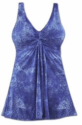 SOLD OUT! Plus Size Blue Printed Twist Front 1 Piece Swimdress / Swimsuit