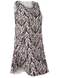 SALE! Plus Size Brown Tribal Round Neckline Sleeveless Short Crinkle Dress Size 4x
