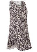 NEW! Plus Size Brown Tribal Round Neckline Sleeveless Short Crinkle Dress Size 4x