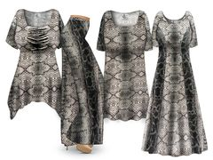 Plus Size Cairo Cobra Print SLINKY Dresses Tops Skirts Pants Palazzo�s & Skirts - Sizes Lg to 9x