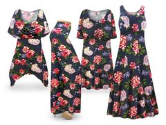 Plus Size Camden Floral Print SLINKY Dresses Tops Skirts Pants Palazzo�s & Skirts - Sizes Lg to 9x