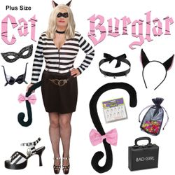 NEW! Plus Size Cat Burgular Halloween Costume Lg XL 0x 1x 2x 3x 4x 5x 6x 7x 8x 9x
