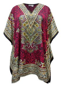 NEW! Plus Size Caliphate Wine Print Short Bejeweled Caftan Dress or Shirt 1x-6x