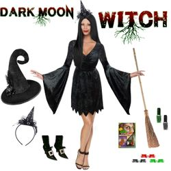NEW! Plus Size Dark Moon Witch Costume & Accessories Size Lg XL 0x 1x 2x 3x 4x 5x 6x 7x 8x 9x