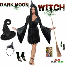 SALE! Plus Size Dark Moon Witch Costume & Accessories Size Lg XL 0x 1x 2x 3x 4x 5x 6x 7x 8x 9x